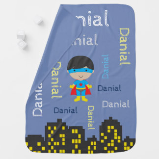 NAME ALL OVER SuperHero Baby Boy Blanket