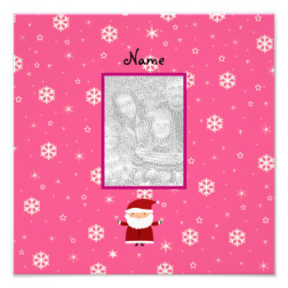Name and add your own photo santa pink snowflakes
