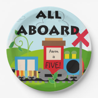 Name and Age All Aboard Train Happy Birthday Paper Plate