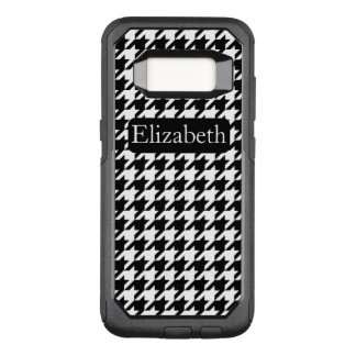 Name and Black and White Houndstooth Pattern OtterBox Commuter Samsung Galaxy S8 Case