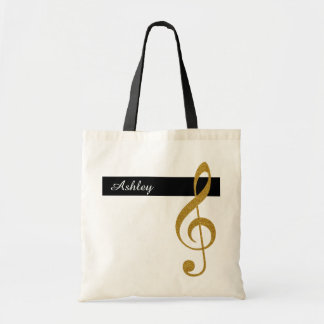 name and golden treble clef music tote bag