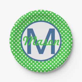 Name and Initial, Polka Dots with Blue and Green Paper Plate