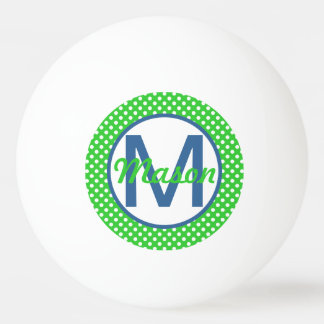 Name and Initial, Polka Dots with Blue and Green Ping Pong Ball