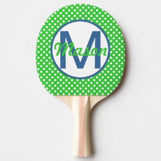 Name and Initial, Polka Dots with Blue and Green Ping Pong Paddle