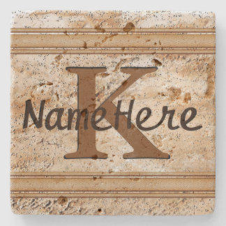 NAME and MONOGRAM Coasters for Him, Set of 4 or 1