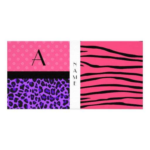 Name and monogram pink zebra stripes photo card template