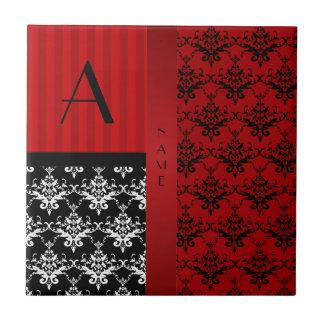 Name and monogram red damask stripes ceramic tile