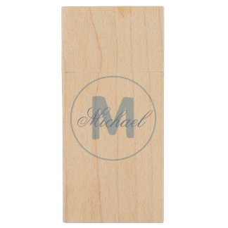 Name and Monogrammed Medallion in Cerulean Blue Wood USB 2.0 Flash Drive