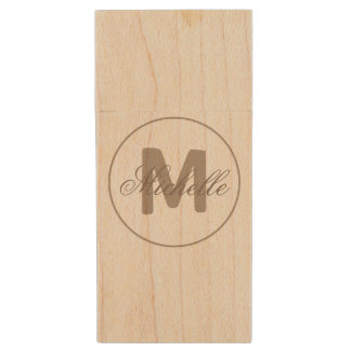 Name and Monogrammed Medallion in Umber Brown Wood USB 2.0 Flash Drive