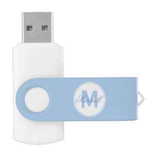 Name and Monogrammed Medallion on Cerulean Blue Swivel USB 2.0 Flash Drive