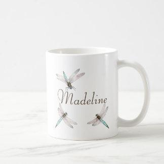 Name and Teal Blue Dragonflies Coffee Mug