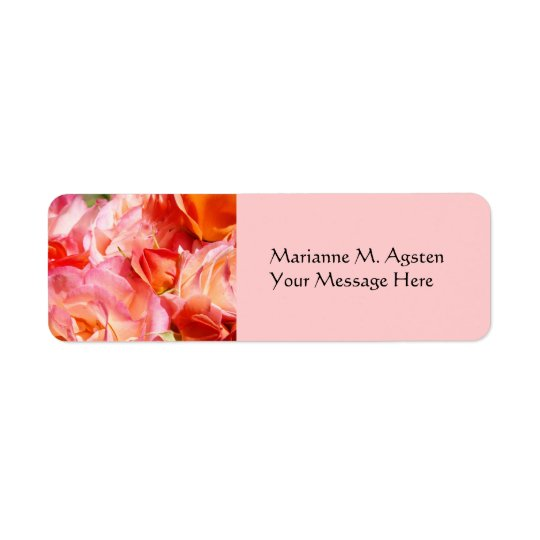 Name and Tilte Message Labels Pink Rose Flowers
