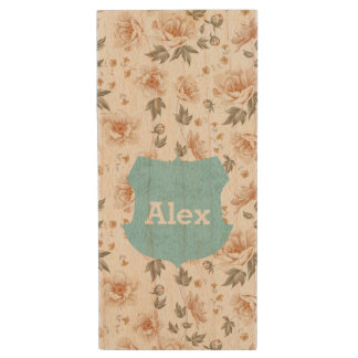 Name Badge on Spring Roses Wood USB Flash Drive