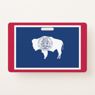 Name Badge with flag of Wyoming State, USA ID Badge