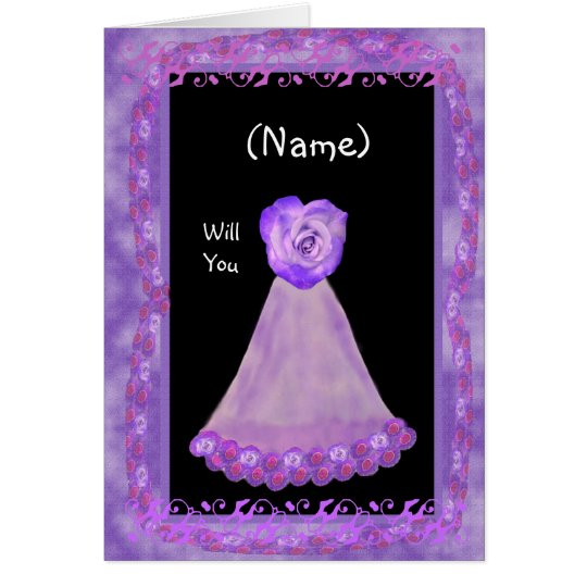 NAME Be My Bridesmaid with PURPLE Gown &  Rose Card