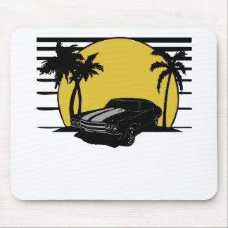 (Name) Beach Sunset Surf Vintage Car Customizable Mouse Pad
