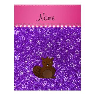 Name beaver indigo purple glitter stars flyer