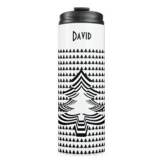 Name: Black and White Christmas Tree Font Art Thermal Tumbler