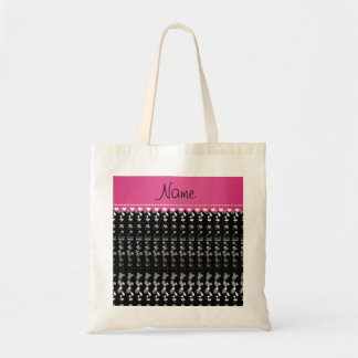 Name black baby bottle rattle pacifier stork budget tote bag