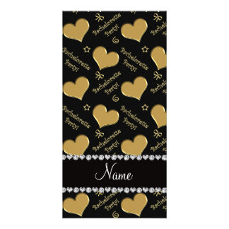 Name black gold hearts bachelorette party customised photo card