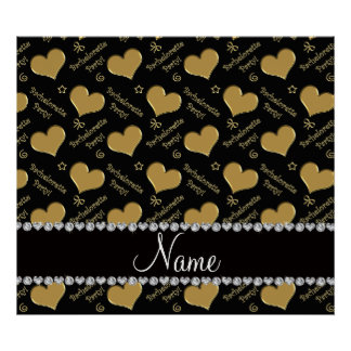 Name black gold hearts bachelorette party poster