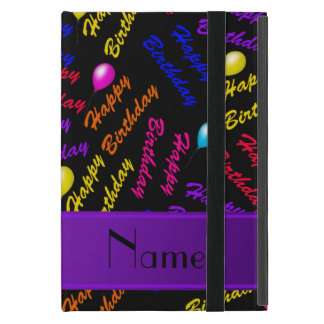 Name black rainbow happy birthday balloons cases for iPad mini