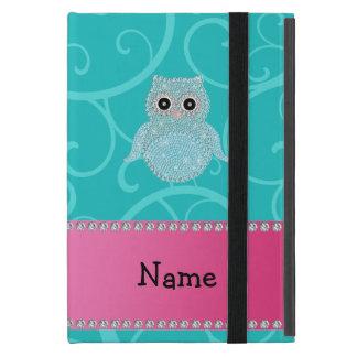 Name bling owl diamonds turquoise swirls covers for iPad mini