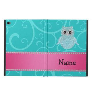 Name bling owl diamonds turquoise swirls powis iPad air 2 case