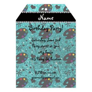 name bright aqua glitter painter palette brushes 13 cm x 18 cm invitation card