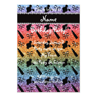 name bright rainbow glitter perfume lipstick bows 13 cm x 18 cm invitation card
