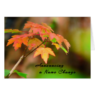 Name Change Card with Fall Leaves