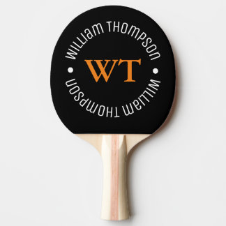 name (circle monogram) black ping pong paddle