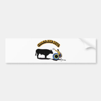 NAME: Clown and Bull-With-Text Bumper Sticker