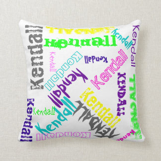 Name Collage Pillow in Bright Electric Colours