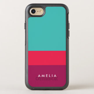 Name Color Block Turquoise Pink Purple OtterBox Symmetry iPhone 8/7 Case