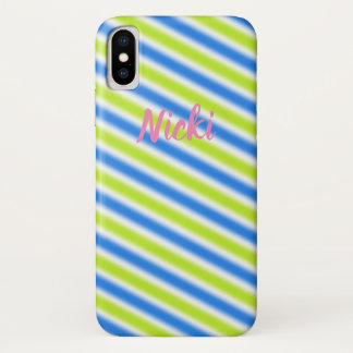 "Name & Contemporary Design ""Stripes"" iPhone X Case"