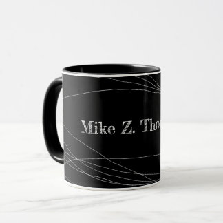 name + curved thin lines on modern black mug