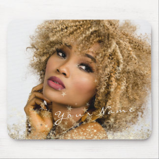 Name Custom Photo Golden Golden Stars Glam Mouse Pad