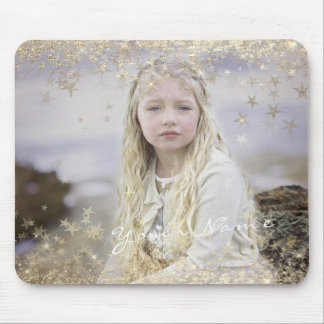 Name Custom Photo Golden Golden Stars Princess Mouse Pad