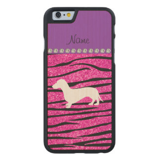 Name dachshund neon hot pink glitter zebra stripes carved® maple iPhone 6 case