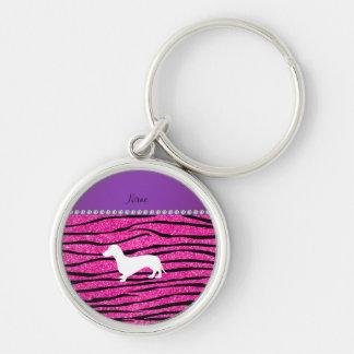 Name dachshund neon hot pink glitter zebra stripes key chains