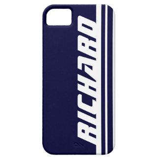Name dark blue & white stripe sport iphone 5 case