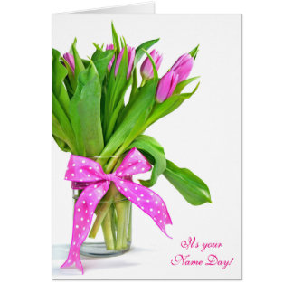 Name Day-pink tulip bouquet Card