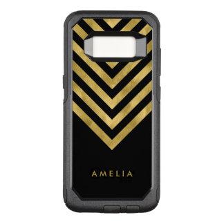 Name Elegant Black Geometric Chevron OtterBox Commuter Samsung Galaxy S8 Case