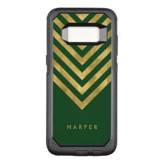 Name Elegant Green Geometric Chevron OtterBox Commuter Samsung Galaxy S8 Case