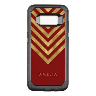 Name Elegant Red Geometric Chevron OtterBox Commuter Samsung Galaxy S8 Case