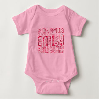 Name Emily Cute Typography Love Hearts Baby Bodysuit