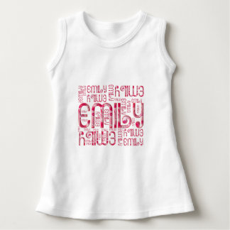 Name Emily Cute Typography Love Hearts Dress