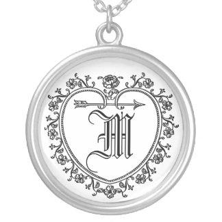 name,family name, initial,monogram round pendant necklace
