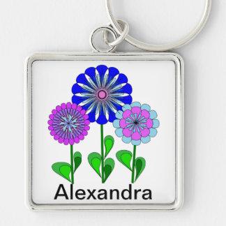 Name Floral Design Custom Keychain